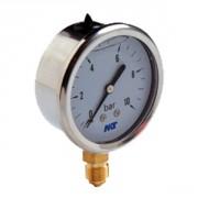 Manomètre à bain glycériné boîtier inox- diam 63 mm, 0-10 bars