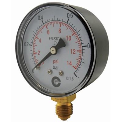 Manomètre sec 0-10 bars - Ø50 - Radial