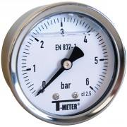 Manomètre à bain de glycérine 0-6 bars - Ø50 - Axial