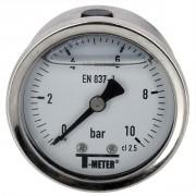Manomètre à bain de glycérine 0-10 bars - Ø50 - Axial