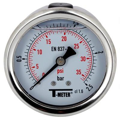Manomètre à bain de glycérine 0-2,5 bars - Ø63 - Axial