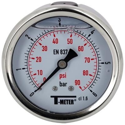 Manomètre à bain de glycérine 0-6 bars - Ø63 - Axial