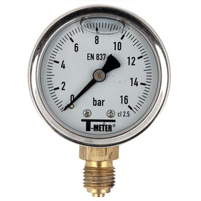 Manomètre à bain de glycérine 0-16 bars - Ø63 - Radial