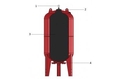Pièces détachée Réservoir Zilmet 100L Vertical - Brides inox